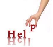 Ajuda da mão e da palavra Fotos de Stock Royalty Free