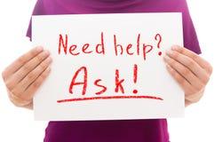 Ajuda da necessidade? Peça! Imagens de Stock