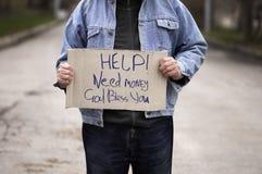 Ajuda! Dinheiro da necessidade! foto de stock