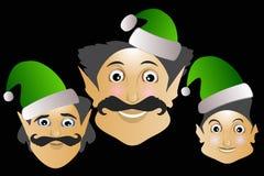 Ajuda do ano novo do Feliz Natal do ícone do duende em um fundo preto 2017 Imagem de Stock Royalty Free