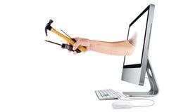 Ajuda do negócio, do Internet e do computador Imagens de Stock