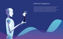 Ajuda do robô da inteligência artificial humana - guardando o conceito disponivel do vetor do homem de negócios Símbolo da tecnol ilustração do vetor