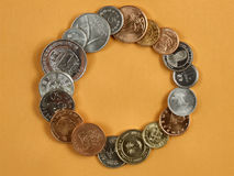 Ajuda e comércio globais - moedas Imagem de Stock
