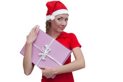 Ajudante alegre de Santa com a caixa atual cor-de-rosa Fotos de Stock Royalty Free
