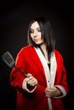 Ajudante de Santa com spatula fotografia de stock royalty free