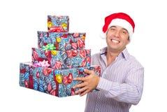 Ajudante feliz de Santa com presentes Imagens de Stock Royalty Free