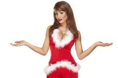 Ajudante 'sexy' de Santa no branco Fotografia de Stock Royalty Free