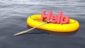 Ajude e apoie o barco de borracha do conceito no oceano Imagens de Stock Royalty Free