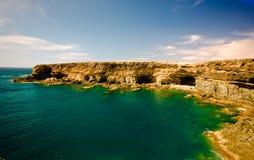 Ajui coastline. Caves on the west coast of Fuerteventura Stock Images