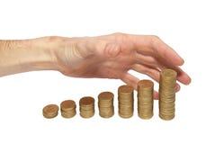 Ajuntando as mãos do dinheiro fotos de stock