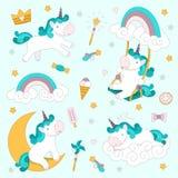 Ajustado com unicórnios, arco-íris, gelado e outros doces Ilustração do vetor foto de stock