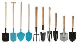 Ajustado das ferramentas de jardinagem, das pás de pedreiro da mão e da forquilha da mão isoladas imagem de stock