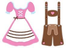 Ajustado do Dirndl de dois ícones de Oktoberfest e da calças de couro ilustração do vetor