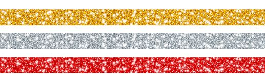 Ajustado do vermelho da prata do ouro de três fitas do brilho ilustração do vetor