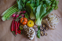 Ajustado em segundo de vegetais selecionados da qualidade e de um outro alimento Imagem de Stock Royalty Free