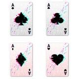 Ajustado quatro ás para jogar o pôquer e o casino ilustração royalty free