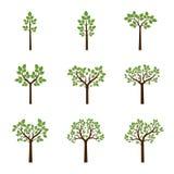 Ajuste árvores da cor Ilustração do vetor ilustração stock