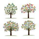 Ajuste árvores e raizes da cor Ilustração do vetor ilustração royalty free