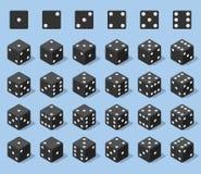 Ajuste 24 ícones autênticos dos dados em todas as voltas possíveis Vinte quatro dados da perda das variações Cubos pretos do jogo ilustração do vetor