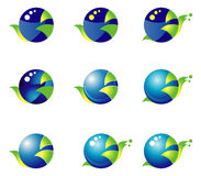 Ajuste 9 ícones azul esverdeado com base em um círculo Caracol Foto de Stock