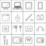 Ajuste ícones com linhas tecnologia no fundo branco Fotografia de Stock Royalty Free