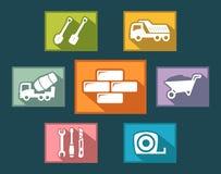 Ajuste ícones da construção no estilo liso do projeto Fotografia de Stock