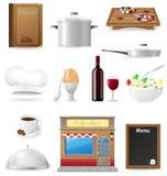 Ajuste ícones da cozinha para o cozimento do restaurante Fotografia de Stock Royalty Free