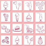 Ajuste ícones da pastelaria Foto de Stock Royalty Free