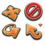 Ajuste ícones das setas e a parada assina dentro o estilo dos desenhos animados ilustração royalty free