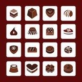 Ajuste ícones de ícones do chocolate - ilustração Fotos de Stock Royalty Free