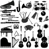 Ajuste ícones de instrumentos musicais ilustração do vetor