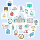 Ajuste ícones de volta à linha ícones do vetor da escola Imagem de Stock Royalty Free