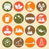 Ajuste 16 ícones do combustível e da energia Imagem de Stock Royalty Free