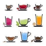 Ajuste ícones do copo das bebidas ilustração stock