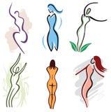 Ajuste ícones do corpo da mulher - natureza, esportes e aptidão ilustração royalty free