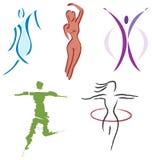 Ajuste ícones do corpo da mulher - natureza, esportes e aptidão Fotos de Stock