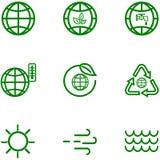 Ajuste ícones do esboço relacionado do globo e da terra ilustração stock