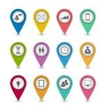 Ajuste ícones do infographics do negócio para a disposição do Web site do projeto Fotos de Stock