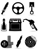 Ajuste ícones do mal preto do vetor da silhueta das peças do carro Imagens de Stock