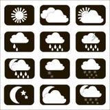Ajuste ícones do tempo do vetor O sol, a nuvem, a lua, a chuva e a neve S Fotos de Stock Royalty Free