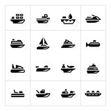 Ajuste ícones do transporte da água Imagens de Stock Royalty Free
