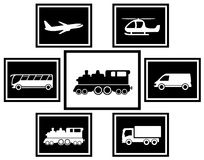 Ajuste ícones do transporte da carga e de frete ilustração royalty free