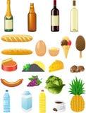 Ajuste ícones dos alimentos Imagens de Stock
