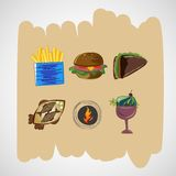 Ajuste ícones dos esboços do vetor da cor do alimento Fotografia de Stock Royalty Free