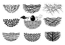 Ajuste ícones dos ninhos do pássaro Foto de Stock Royalty Free
