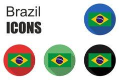 Ajuste ícones lisos de Brasil Imagem de Stock