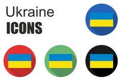 Ajuste ícones lisos de Ucrânia Fotos de Stock