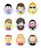 Ajuste ícones lisos do perfil dos avatars, caráteres diferentes Barbas na moda, vidros Fotografia de Stock Royalty Free