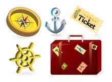 Ajuste ícones náuticos, aventura, navio de cruzeiros Imagem de Stock