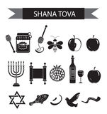 Ajuste ícones no ano novo judaico, ícone preto da silhueta, Rosh Hashanah, Shana Tova Estilo liso dos ícones dos desenhos animado Foto de Stock Royalty Free